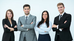 Group of happy and successful business people looking confident Stock Photos