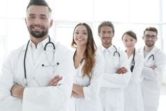Group of happy successful doctors standing in a row in the hospital Stock Image
