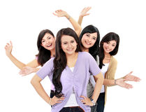 Group of happy teenagers. Portrait Group of happy teenagers having fun Stock Photos
