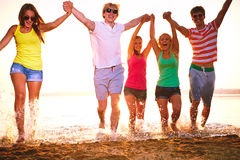 Group of happy teenagers at the beach Royalty Free Stock Image