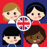 Group of happy United Kingdom's supporters Royalty Free Stock Photo