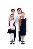 Group of happy and well groomed kids - isolated Royalty Free Stock Images