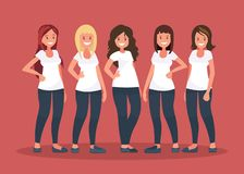 Group of happy women in white t-shirts on pink background. royalty free illustration