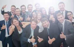 Group of jubilant business people jumping for joy and shouting i. Group of happy young business people in a meeting at office Royalty Free Stock Photos