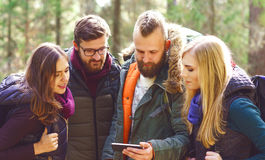 Group of happy, young friends checking a map on a smartphone in. Forest. Camp, tourism, hiking, trip, concept royalty free stock images