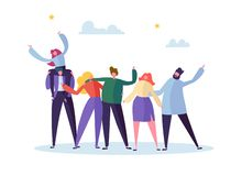 Group of Happy Young Male and Female Character Embracing Each Other. People Celebrate Important Teamwork Event stock illustration