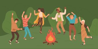 Group of happy young men and women dancing around bonfire in forest. People enjoying party in woods. Male and female vector illustration