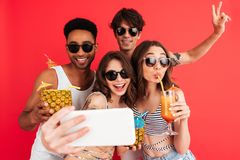 Group of happy young multiracial friends royalty free stock photo