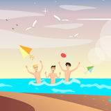 Group of happy young people on beach. Royalty Free Stock Image