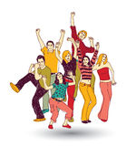 Group happy young people color isolate on white Royalty Free Stock Images