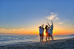 Group of happy young people dancing at the beach on beautiful summer sunset.  Stock Photography
