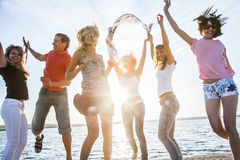 Teens beach party royalty free stock photos