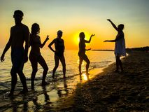 Group of happy young people dancing at the beach on beautiful sunset royalty free stock photos