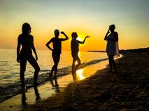 Group of happy young people dancing at the beach stock image