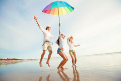 Group of happy young people having fun on the Stock Photography