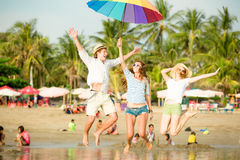 Group of happy young people having fun on the Royalty Free Stock Photography