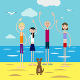 Group of happy young people invites to rest on the beach. Group of happy young people in company with a small puppy invites to rest on the beach Royalty Free Stock Images