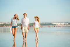 Group of happy young people walking along the Royalty Free Stock Image