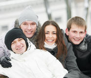 Group of happy young people in winter Royalty Free Stock Photos