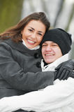 Group of happy young people in winter Stock Photography