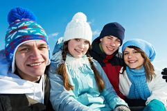 Group of happy young people in winter Royalty Free Stock Image