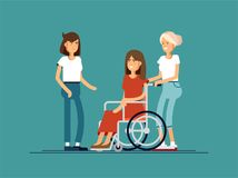 Group of happy young woman communicate with each other. Caring for the disabled people concept. Royalty Free Stock Images