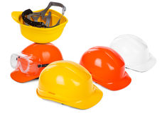 Group of hard hats Stock Images