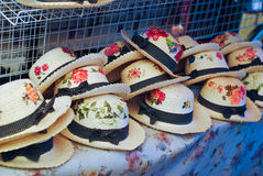 Group of hat for sale at bangnamphung floating market Thailand selective focus Stock Images
