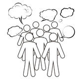 A group is having a discussion. A group of characters is having a discussion Royalty Free Stock Image