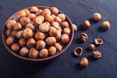 Group of hazelnuts. On stone rustic background Stock Image