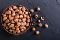 Group of hazelnuts. On stone rustic background . Healthy food Stock Photography