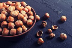Group of hazelnuts. On stone rustic background . Healthy food Stock Photos