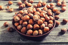 Group of hazelnuts. On wooden rustic background . Healthy food Royalty Free Stock Photos