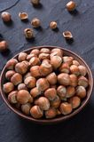 Group of hazelnuts. On stone rustic background . Healthy food Royalty Free Stock Images