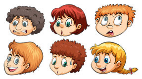 A group of heads. With different emotions on a white background Stock Images