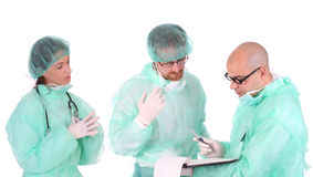 Group of healthcare workers. Arguments on workplace Stock Image