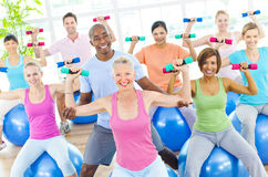 Group of Healthy People in the Fitness Stock Images