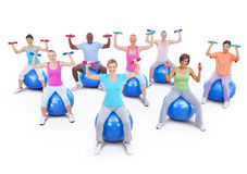Group of Healthy People in the Fitness Stock Photo