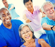Group Healthy People Fitness Exercising Concept stock photos