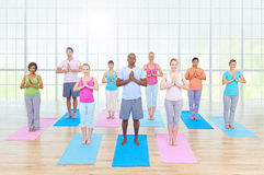 Group Healthy People Fitness Exercising Relaxation Concept Royalty Free Stock Photo