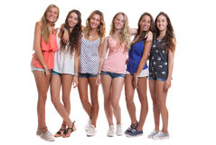 Group of healthy tanned smiling summer teenagers Stock Photo