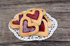Group of heart cookies on table Stock Photos