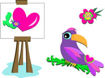 Group of Heart, Easel, Parrot, and Flower Stock Images