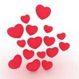 A group of hearts floating in the air. stock illustration