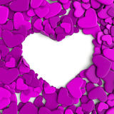 Group hearts on white background Royalty Free Stock Photography