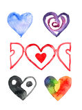 Group-of-hearts-2. On a white background watercolor painted a group of six different colored hearts Stock Photography