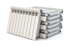 Group of heating radiators Stock Photo