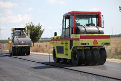 Group of heavy vibration roller compactors Stock Photography