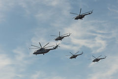Group of helicopters. Mi-8 and mi-26 stock image