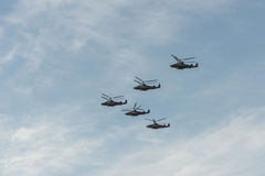 Group of helicopters. Group of Russian helicopters ka-52 royalty free stock photos